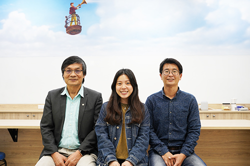 ↑ The NCU Research team (from left to right): Professor Pay-Liam Lin, student Ms. Ying-Chieh Chen, and Associate Professor Dr. Sheng-Hsiang Wang, at Department of Atmospheric Sciences.
